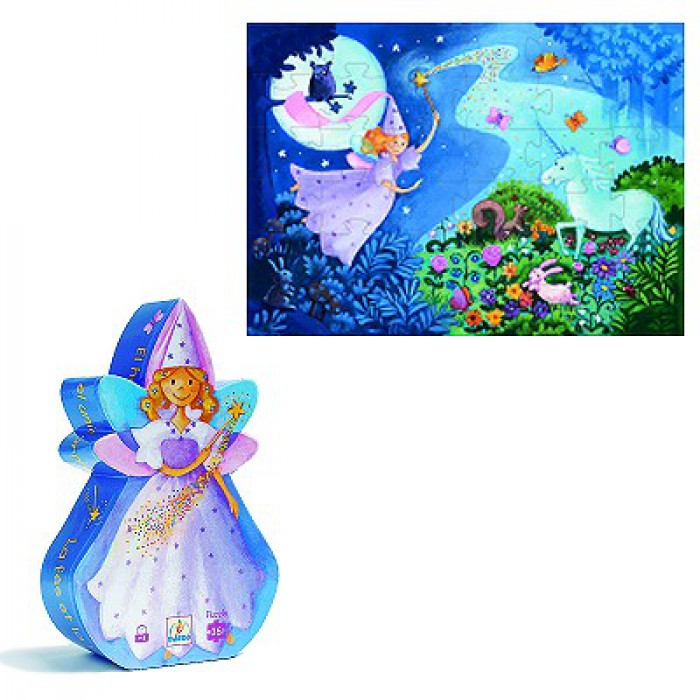 Jigsaw Puzzle - 36 Pieces - Fairy Shaped Box - The Fairy and the Unicorn
