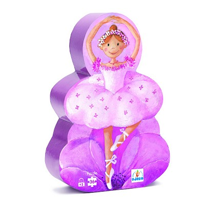 Djeco-07227 Jigsaw Puzzle - 36 Pieces - Ballerina Shaped Box -