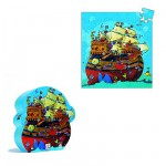 Djeco-07241 Jigsaw Puzzle - 54 Pieces - Boat Shaped Box - Barbarossa's Ship