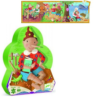 Djeco-07251 Jigsaw Puzzle - 54 Pieces - Pinocchio Shaped Box - Pinocchio
