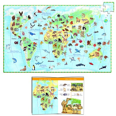 Djeco-07420 Jigsaw Puzzle - 100 Pieces - with a booklet and a poster - Animals of the World