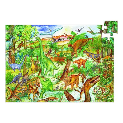 Djeco-07424 Jigsaw Puzzle - 100 Pieces - with a booklet and a poster - Discover the Dinosaurs