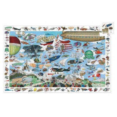 Djeco-07451 Jigsaw Puzzle - 200 Pieces - with a poster and an observation game - The King's Castle
