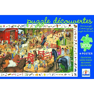 Djeco-07454 Jigsaw Puzzle - 200 Pieces - with a poster and a game - Horse riding