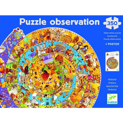Djeco-07470 Jigsaw Puzzle - 350 pieces - Round - Observation Puzzle : History