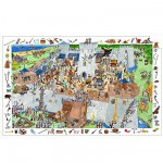 Djeco-07503 Jigsaw Puzzle - 100 Pieces - with a poster and a game - Fortified Castle