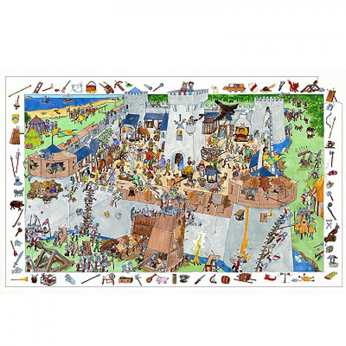 Jigsaw Puzzle - 100 Pieces - with a poster and a game - Fortified Castle