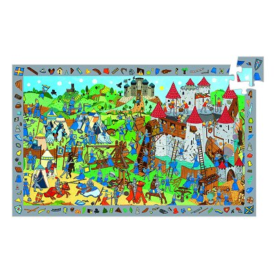 Djeco-07559 Jigsaw Puzzle - 54 Pieces - with a poster and a game - Knights