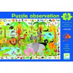 Djeco-07590 Jigsaw Puzzle - 35 Pieces - with a poster and observation game - The Jungle -