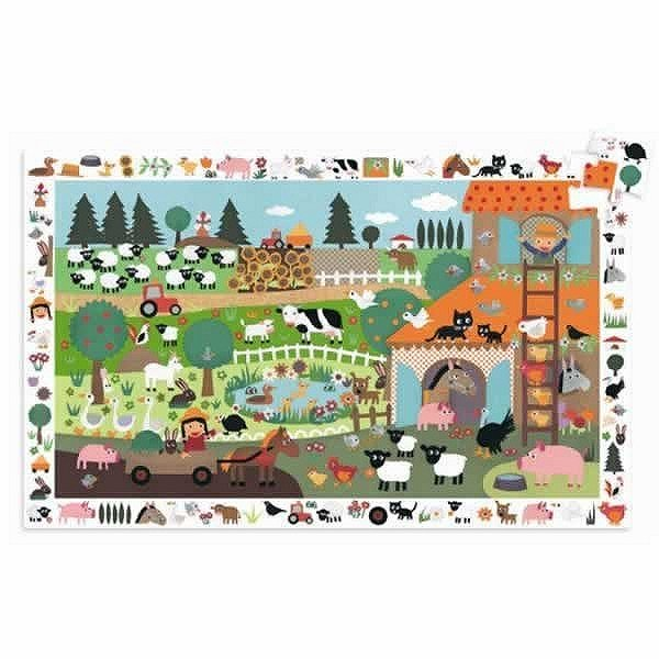 Djeco-07591 Jigsaw Puzzle - 35 Pieces - with a poster and a game - The Farm