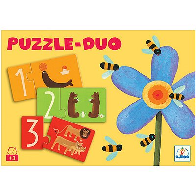 Djeco-08151 Jigsaw Puzzle - 2 Pieces - 10 in 1 - Duo of Numbers