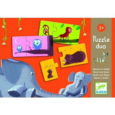 Djeco-08157 Jigsaw Puzzle - 2 Pieces - 10 in 1 - Mummy and her Baby Duo