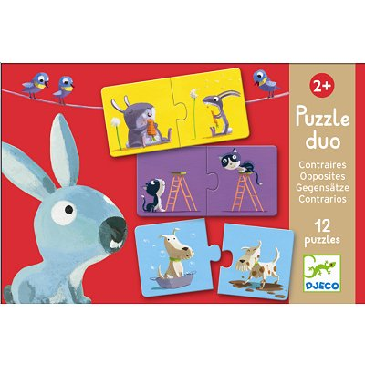 Djeco-08162 Jigsaw Puzzle - 2 Pieces - 10 in 1 - Duo of Opposites