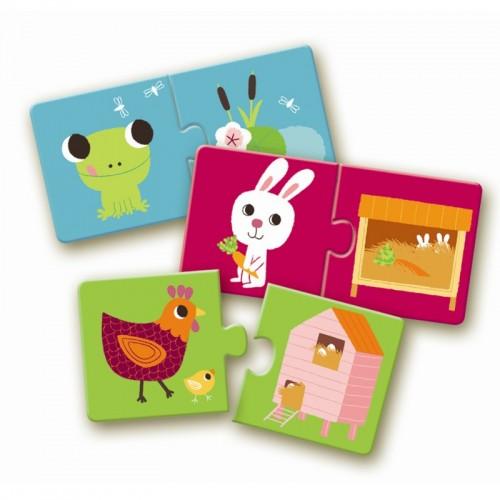Djeco-08164 10 Puzzles - Animals Homes Duo