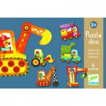 Djeco-08170 Jigsaw Puzzle - 6 x 2 Pieces : Duo : Articulo Vehicle