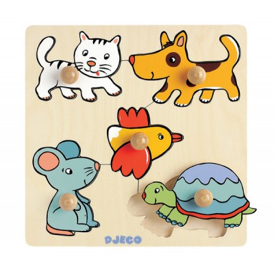 Djeco-DJ-01008 Peg Puzzle - 5 Pieces - Wooden - Pets