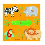 Djeco-DJ-01018 Peg Puzzle - 5 Pieces - Wooden - The Jungle