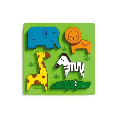 Djeco-DJ-01023 Peg Puzzle - 5 Pieces - Wooden - Incrocodile