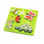 Djeco-DJ-01025 Peg Puzzle - Wooden - 5 Pieces - Little Bugs