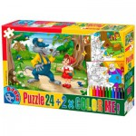 Puzzle  Dtoys-50380-PC-06 Color Me: The Little Red Cap + 2 drawings to color
