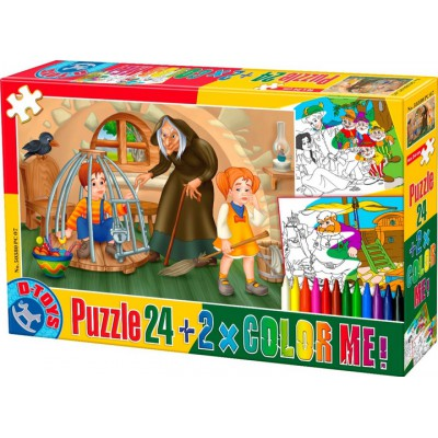 Puzzle Dtoys-50380-PC-07 Color Me: Hansel and Gretel + 2 drawings to colorize