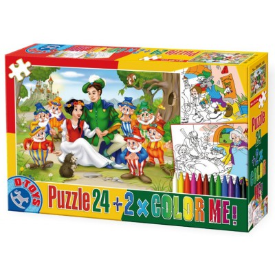 Puzzle Dtoys-50380-PC-08 Color Me: Blanche Neige + 2 drawings to colorize