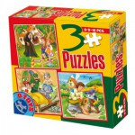 Puzzle  Dtoys-50922-BS-05 Tales and Legends: Hansel and Gretel, Little Red Cap, the Chat Botté