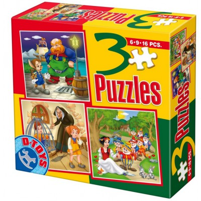 Puzzle Dtoys-50922-BS-08 Tales and Legends: Pinocchio, Hansel and Gretel, Blanche Neige and the Seven Dwarfs