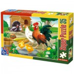 Puzzle  Dtoys-60198-AN-01 XXL pieces -Hen, rooster, chicks and turkeys