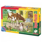 Puzzle  Dtoys-60198-AN-02 XXL pieces -Cows and dog