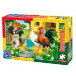 Puzzle  Dtoys-60211-AN-01 Farm animals: hen, rooster, duck, chicks and turkeys