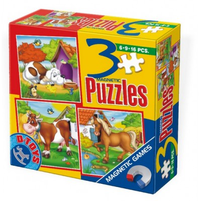 Dtoys-60457 Magnetic puzzles of 6, 9 and 16 pieces: horse, dog and cow