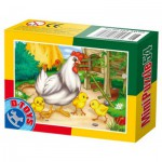 Dtoys-60464-AD-06 Mini Puzzle: Hen and chicks