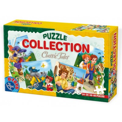 Dtoys-60501-CP-01 4 Tales and Legends Puzzles : Hansel and Gretel, Little Red Cap,the kicked cat, Gulliver