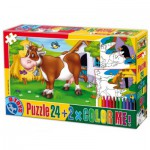 Puzzle  Dtoys-60730-PC-01 Color Me: The cow in the pre + 2 drawings to colorize