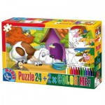 Puzzle  Dtoys-60730-PC-02 Color Me: The dog lying down in front his doghouse + 2 drawings to color