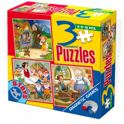 Dtoys-60778 Magnetic puzzles of 6, 9 and 12 pieces: Pinocchio, Hansel, Gretel and Blanche Neige