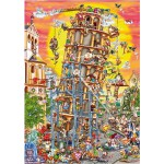 DToys-61218-CC01 Jigsaw Puzzle - 1000 Pieces - Cartoon Collection : Pisa Tower