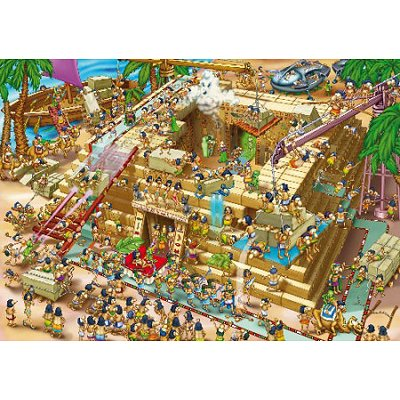 DToys-61218-CC03 Jigsaw Puzzle - 1000 Pieces - Cartoon Collection : Building the Pyramids, Egypt