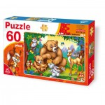 Puzzle  Dtoys-61478 The bear family with animals in the forest