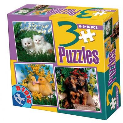 Dtoys-63045-AP-01 3 animal Puzzles