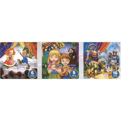 Puzzle Dtoys-63717-BA-02 Tales and Legends: Pinocchio, Hansel and Gretel, the Chat Botté