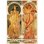 DToys-66930-MU05-(70081) Jigsaw Puzzle - 1000 Pieces - Alphonse Mucha : Moet and Chandon, Cremant Imperial