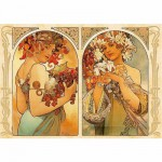 DToys-66930-MU06-(70074) Jigsaw Puzzle - 1000 Pieces - Alphonse Mucha : Fruit and Flower Dyptich