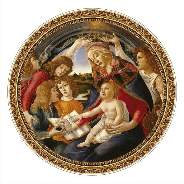 DToys-66985-TM02 Jigsaw Puzzle - 525 Pieces - Round - Masters of the Renaissance - Botticelli : Madonna del Magnifica