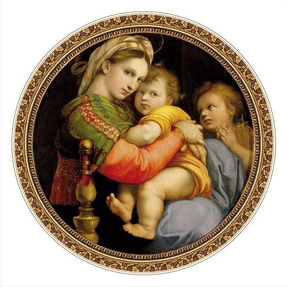 DToys-66985-TM03-(69771) Jigsaw Puzzle - 525 Pieces - Round - Masters of the Renaissance - Raphael : Madonna della Seggiola