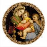 DToys-66985-TM03 Jigsaw Puzzle - 525 Pieces - Round - Masters of the Renaissance - Raphael : Madonna della Seggiola