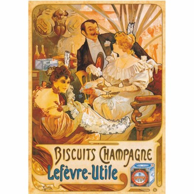 DToys-67555-VP05 Jigsaw Puzzle - 1000 Pieces - Vintage Posters : Lefevre-Utile Champagne Biscuits