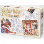 Dtoys-67593-XM-01 Color Me: tales and legends: 3 Christmas Puzzles + drawings to colorize