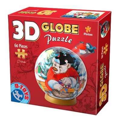 Dtoys-67609-GP-03 Globe Puzzle - The Christmas bear